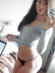 Sexy and pretty chick self-shooting in her bedroom