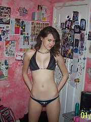 Pictures of a girl next door showing her tits