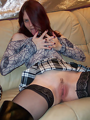 Freaky English Goth girl dildo fucks her pussy