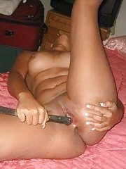 Bad girl gets naked and uses knife for a dildo