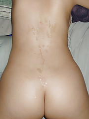 Photos of a naked babe with cum all over her body