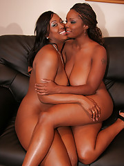 Aryana Starr and Stacy Adams -- two big busted ebony babes with a taste for pink pussy and hard vibrators.  They kissed passionately and did a 69 before pulling out the big sex toy and finding each other