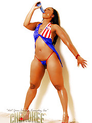 Cherokee wraps American flag around body and plays with dildo