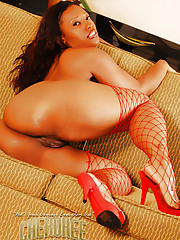 I busted out my favorite red fishnet stockings and it got me horny