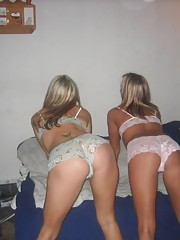 two blondes play around in their underwear and heels
