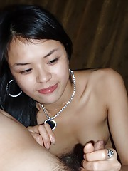 handjob pics with a cute hooky girl in sheer underwear