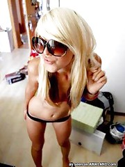 Self-shooting amateur blondes posing non nude