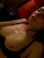 Picture set of a sexy chick who is addicted to hot jizz