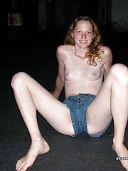 Pictures of a topless amateur teen spreading