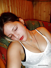 Picture collection of a horny chick showing off her pussy and tits