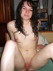 Photo selection of a naked sexy housewife posing