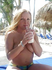 Picture collection of a wife showing her tits at a beach
