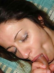Picture collection of an amateur kinky girlfriend who got jizzed on