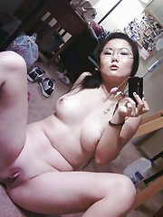 Photo compilation of an amateur horny Asian cutie showing her tits and twat