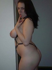 Picture collection of an amateur hardcore chubby GF in latex straps