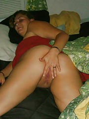 Photo collection of a fat slutty bitch playing with herself