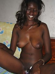 Photo selection of an amateur naked kinky black chick