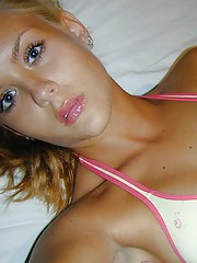 Photo compilation of a hot blondie selfshooting on her bed