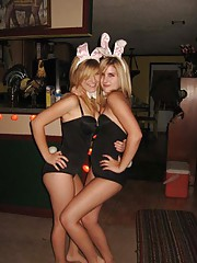 Picture set of playful amateur BFFs