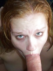 Picture collection of two amateur naughty GFs sucking on boners