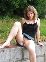 Lovely girl has fun flashing in public