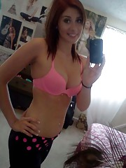Picture selection of an amateur hottie selfshooting in her bedroom