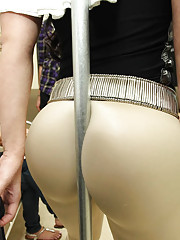 Hot ass leggings babe gets her ass groped and fucked in this real subway amateur candid sex