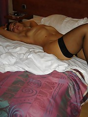 Wife in a slutty black dress gets naked and spreads