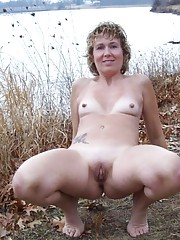 Blonde exhibitionist wife showing off her cunt outdoors