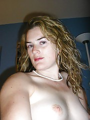 Slutty blonde MILF self-shooting topless for hubby