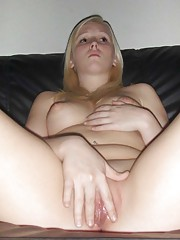 Amateur blonde bimbo who got her shaved pussy creamed