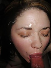 Horny amateur babes enjoying hot messy jizz