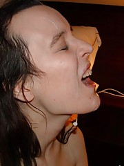 Selection of a hot creampied and facialed brunette