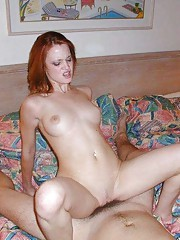 Redhead girlfriend gets creamed on her shaved cunt