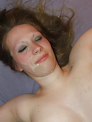 Flaming hot sexy naughty amateur chick gets facialed