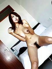 Picture gallery of an Asian amateur slut with hairy pussy