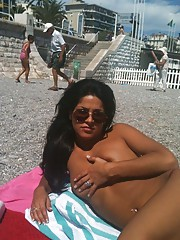 Collection of a kinky Latina chick sunbathing topless