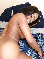 Fine black babe with a big ass shows off her white panties then gets fucked by a white guy