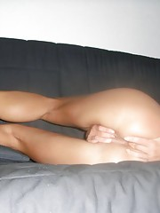 GF dildoing her ass and fingering her cunt