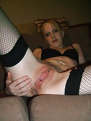 Nasty amateur horny chick toys with both her holes
