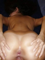 Naked GF fucked in her ass and cunt