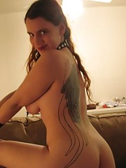 Steamy hot horny sexy tattooed sleazy amateur babe