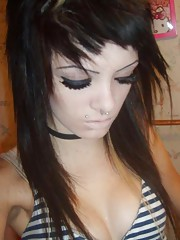 Flaming hot photos of an emo pierced amateur babe