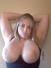 Collection of a naughty BBW showing off her breasts
