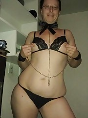 Kinky BBW in slutty lingerie showing off her shaved cunt