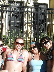 Officemates posing in sexy bikinis during vacation
