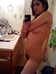 Collection of a naked honey selfshooting in her bathroom