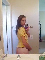 Amateur brunette cutie shows her tits and sexy ass
