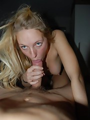 Naughty wild amateur babe sucking on a boner