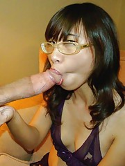 Kinky petite amateur horny chick sucks on a huge boner